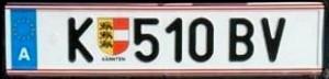 Plaque dimmatriculation Autrichienne