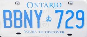 Plaque immatriculation Ontario